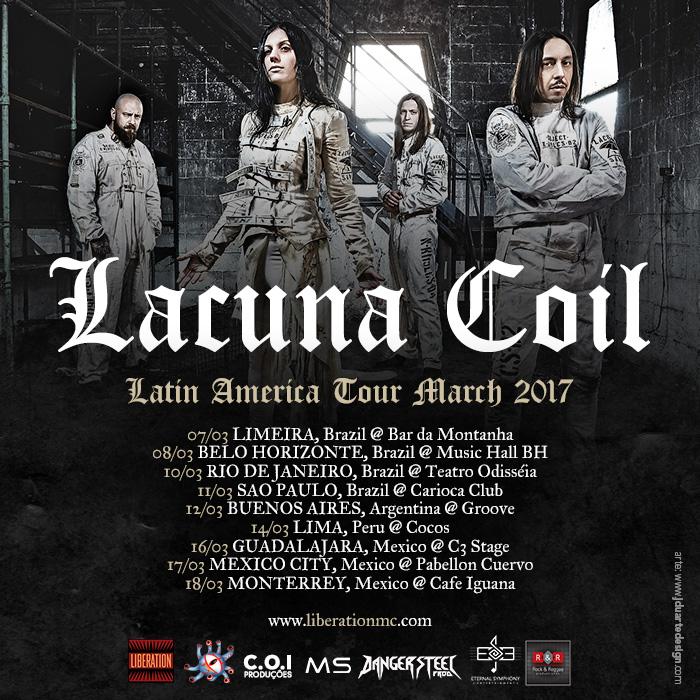 Cartaz com datas de locais dos shows do Lacuna Coil no Brasil, conforme descrito na publicação.
