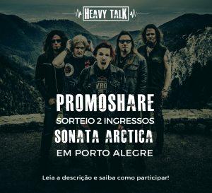 Imagem promocional para compartilhar no Facebook e concorrer ao sorteio de dois ingressos para o show do Sonata Arctica em Porto Alegre. Clique para participar.